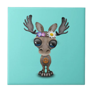 Cute Baby Moose Hippie Tile
