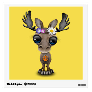Cute Baby Moose Hippie Wall Decal