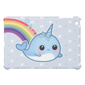Cute baby narwhal and rainbow iPad mini covers