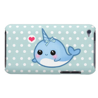 Cute baby narwhal on polka dots barely there iPod case