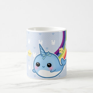 Cute baby narwhal with rainbow and kawaii cloud classic white coffee mug