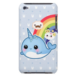 Cute baby narwhal with rainbow and kawaii clouds iPod touch case