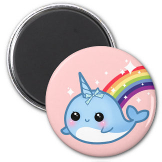 Cute baby narwhal with rainbow and stars on pink 2 inch round magnet