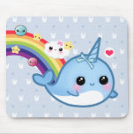 Cute baby narwhal with rainbow, clouds and stars
