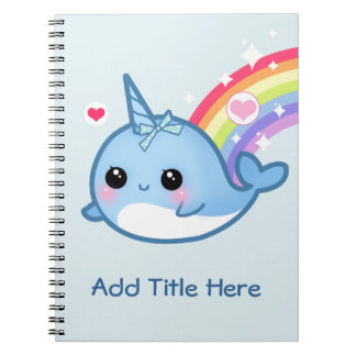Cute baby narwhal with rainbow - Personalized Notebooks