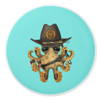 Cute Baby Octopus Zombie Hunter Ceramic Knob