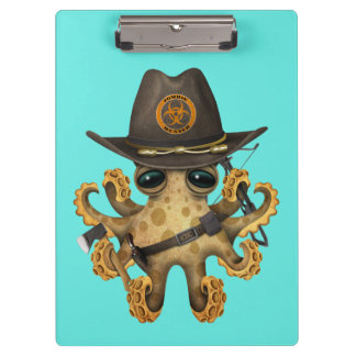 Cute Baby Octopus Zombie Hunter Clipboard