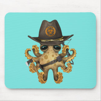 Cute Baby Octopus Zombie Hunter Mouse Pad