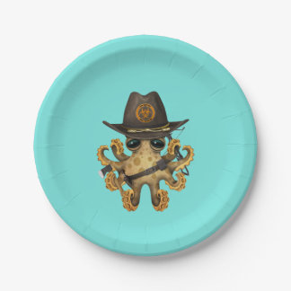 Cute Baby Octopus Zombie Hunter Paper Plate
