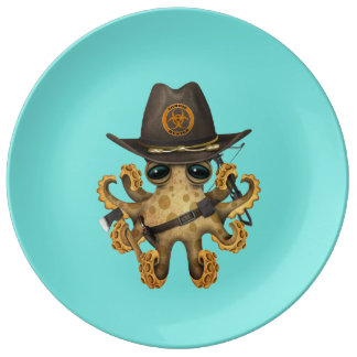 Cute Baby Octopus Zombie Hunter Plate
