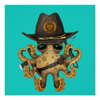 Cute Baby Octopus Zombie Hunter Poster