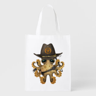 Cute Baby Octopus Zombie Hunter Reusable Grocery Bag