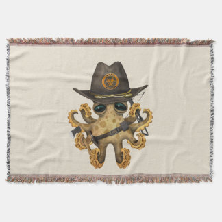 Cute Baby Octopus Zombie Hunter Throw Blanket