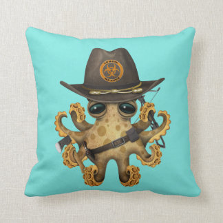Cute Baby Octopus Zombie Hunter Throw Pillow