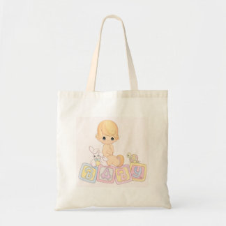 Cute Baby on Toy Blocks Tote Bag