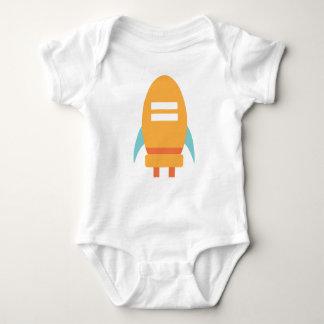 Cute Baby Orange Spaceship Rocket Baby Bodysuit