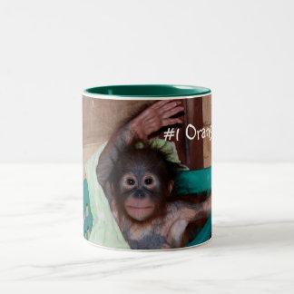 Cute Baby Orangutan Waving Hello Two-Tone Coffee Mug