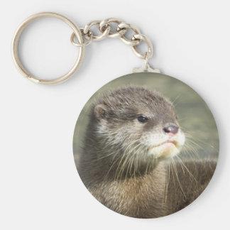 Cute Baby Otter Basic Round Button Keychain