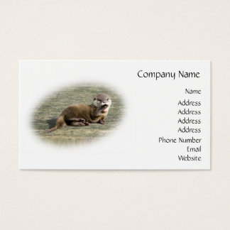 Cute Baby Otter Yawning Business Card