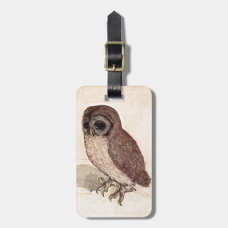 Cute Baby Owl Drawing, Watercolor Cream Brown Owl Luggage Tag