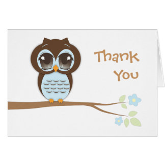 Cute Baby Owl in Blue Thank You Card