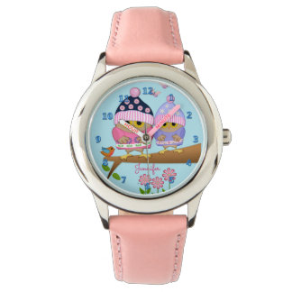 Cute baby owl on a branch with custom name watches
