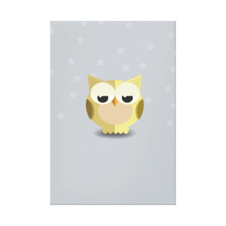 Cute Baby Owl Over Starry Backdrop Canvas Print