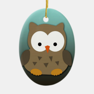 Cute Baby Owl Personalized Ceramic Oval Ornament