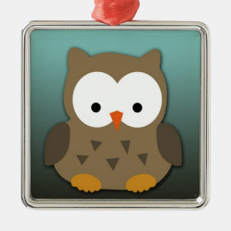 Cute Baby Owl Personalized Silver-Colored Square Ornament