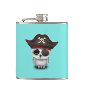 Cute Baby Owl Pirate Hip Flask