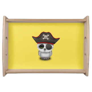 Cute Baby Owl Pirate Serving Tray