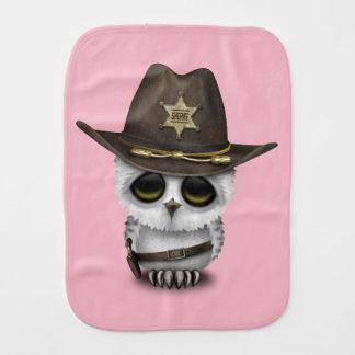 Cute Baby Owl Sheriff Burp Cloth