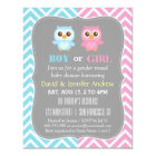 Cute Baby Owl Theme Chevron Gender Reveal Party Card
