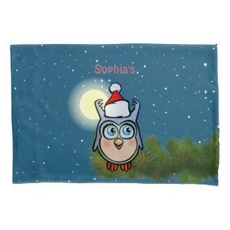 Cute Baby Owl With Christmas Hat Pillowcase