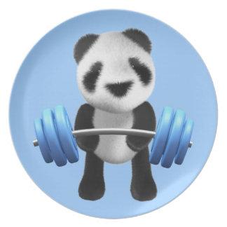 Cute baby panda bear powerlifter in 3d (editable) plate