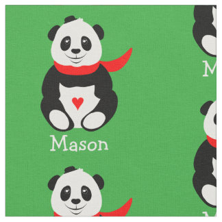 Cute Baby Panda Bear with Bowler Hat and Red Scarf Fabric