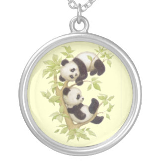 Cute Baby Panda Bears Silver Plated Necklace