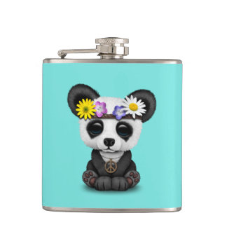 Cute Baby Panda Hippie Hip Flask