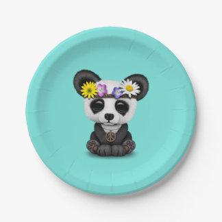 Cute Baby Panda Hippie Paper Plate