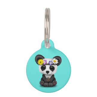 Cute Baby Panda Hippie Pet Name Tag