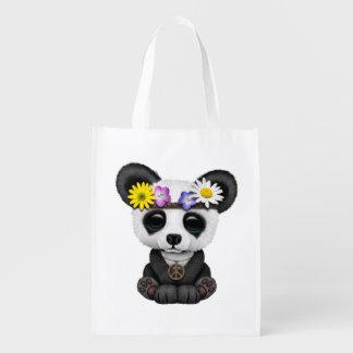 Cute Baby Panda Hippie Reusable Grocery Bag