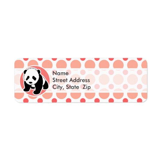 Cute Baby Panda; Pink & Coral Polka Dots Return Address Label