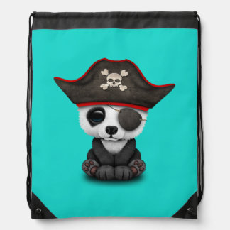 Cute Baby Panda Pirate Drawstring Bag