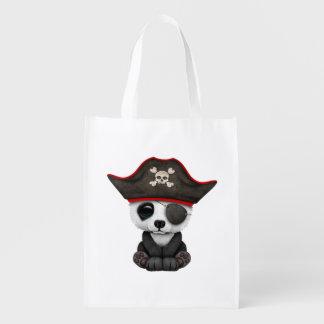 Cute Baby Panda Pirate Reusable Grocery Bag