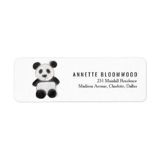 Cute Baby Panda Watercolor Illustration Return Address Label
