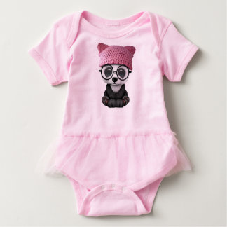 Cute Baby Panda Wearing Pussy Hat Baby Bodysuit
