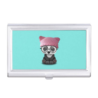 Cute Baby Panda Wearing Pussy Hat Business Card Holder
