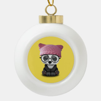 Cute Baby Panda Wearing Pussy Hat Ceramic Ball Christmas Ornament