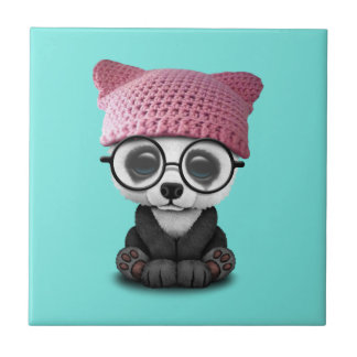 Cute Baby Panda Wearing Pussy Hat Ceramic Tiles