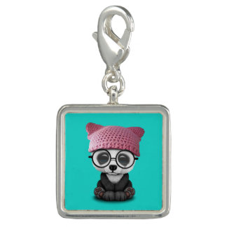 Cute Baby Panda Wearing Pussy Hat Charm